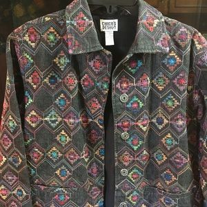 Chico's black denim embroidered jacket